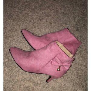 Pink Kitten Heel Ankle Booties w/Pearl jewel
